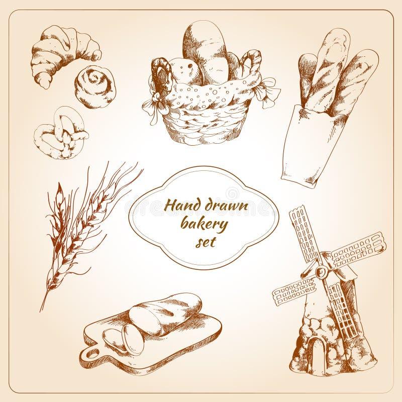 Ícones tirados mão da padaria ajustados ilustração stock
