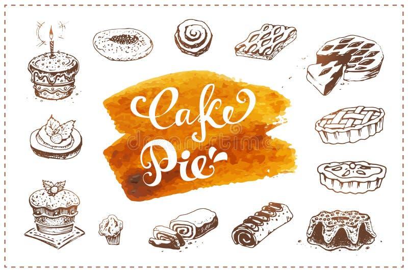 Ícones tirados mão da pastelaria ajustados com torta da sobremesa, bolo de aniversário, queque isolado no fundo branco do vetor E ilustração do vetor