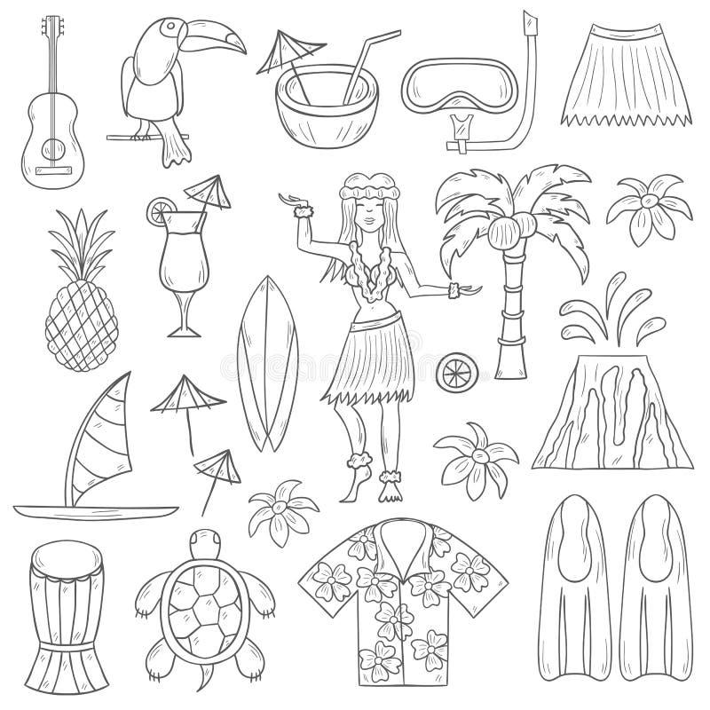 Ícones tirados mão de Havaí do vetor ilustração royalty free