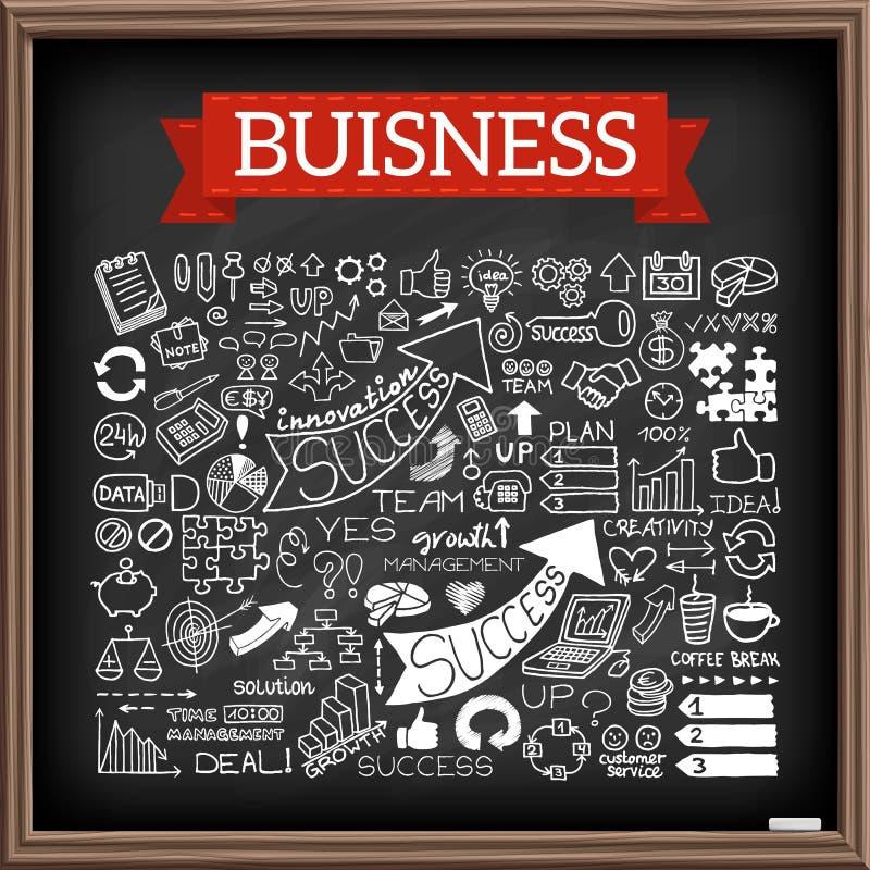 Ícones tirados mão do negócio ajustados ilustração do vetor