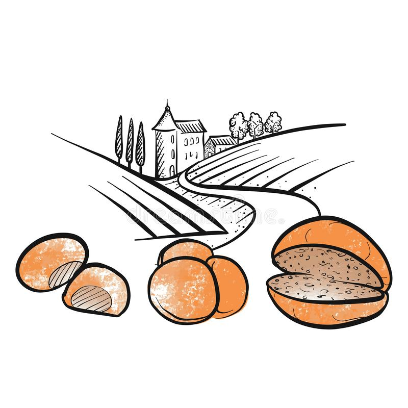 Ícones tirados mão do rolo de pão com paisagem ilustração stock