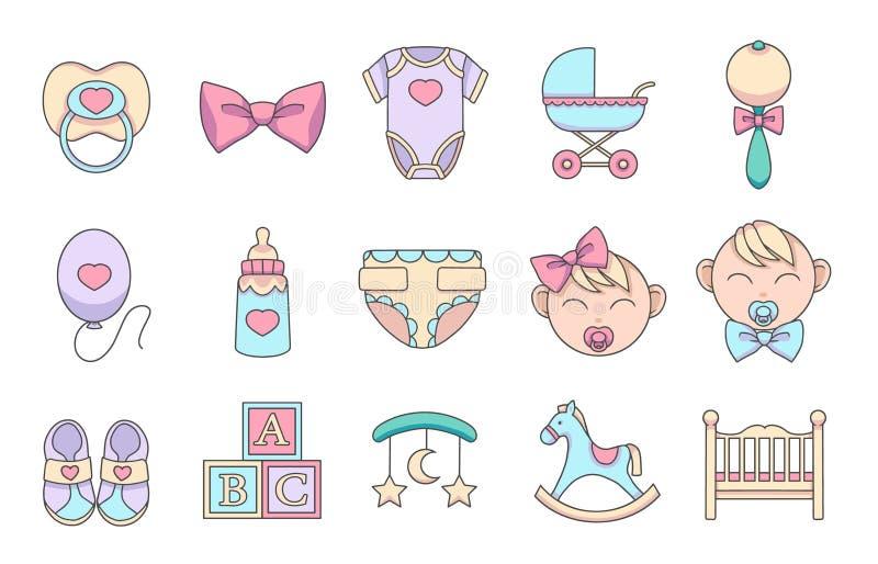 Ícones tirados mão do vetor dos desenhos animados ajustados criando o infographics relativo às crianças e aos bebês, como a chupe ilustração royalty free