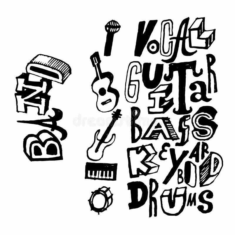 Ícones tirados mão dos instrumentos da faixa da música Ilustração do vetor ilustração do vetor