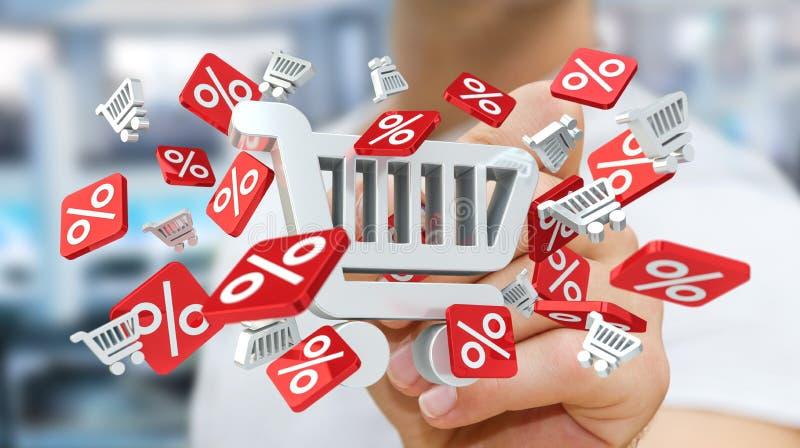 Ícones tocantes das vendas do homem de negócios com uma rendição da pena 3D ilustração stock