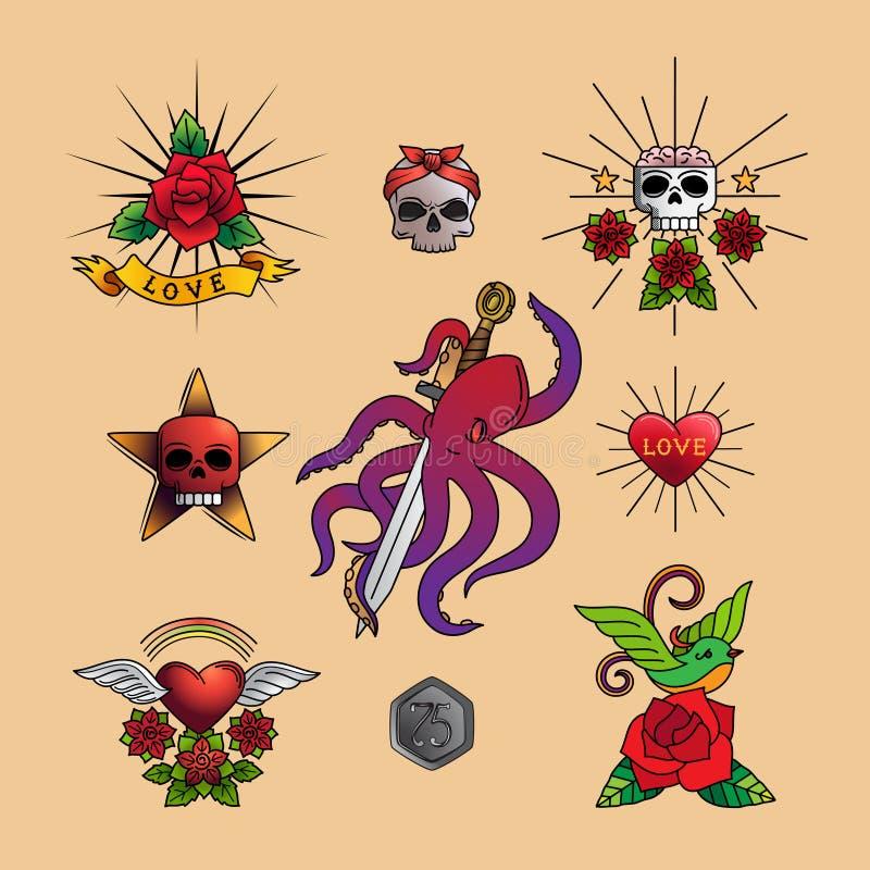 Ícones tradicionais da arte da tatuagem ilustração stock