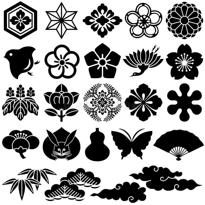 Ícones tradicionais japoneses ilustração royalty free