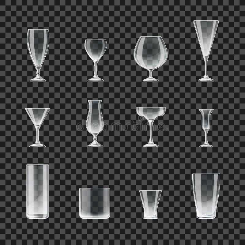 Ícones transparentes do vetor dos vidros e dos cálices ilustração stock