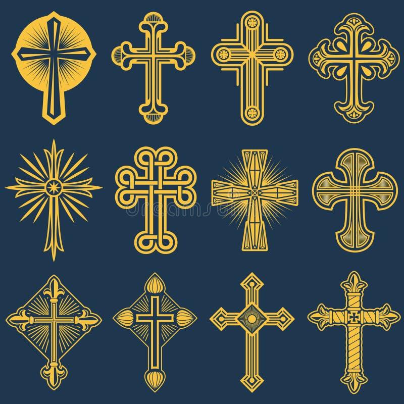 Ícones transversais católicos góticos do vetor, símbolo do catolicismo ilustração royalty free