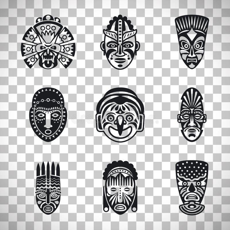 Ícones tribais da máscara no fundo transparente ilustração royalty free