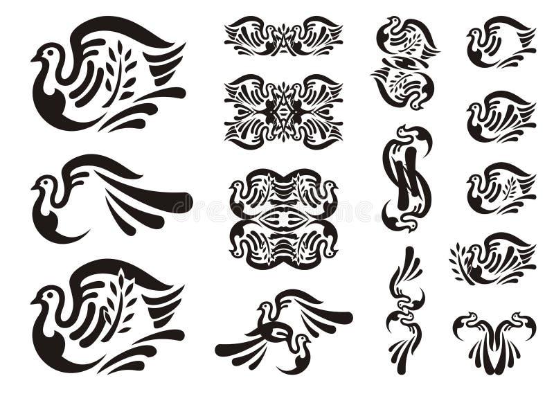 Ícones tribais da pomba ilustração royalty free