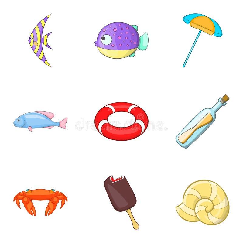 Ícones tropicais ajustados, estilo dos peixes dos desenhos animados ilustração do vetor