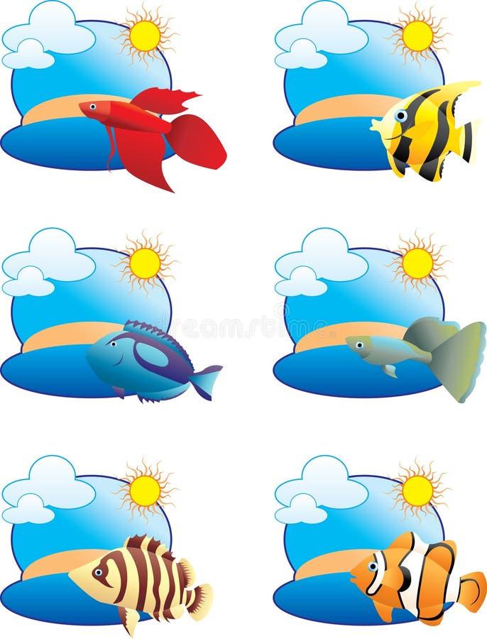 Ícones tropicais dos peixes ilustração stock