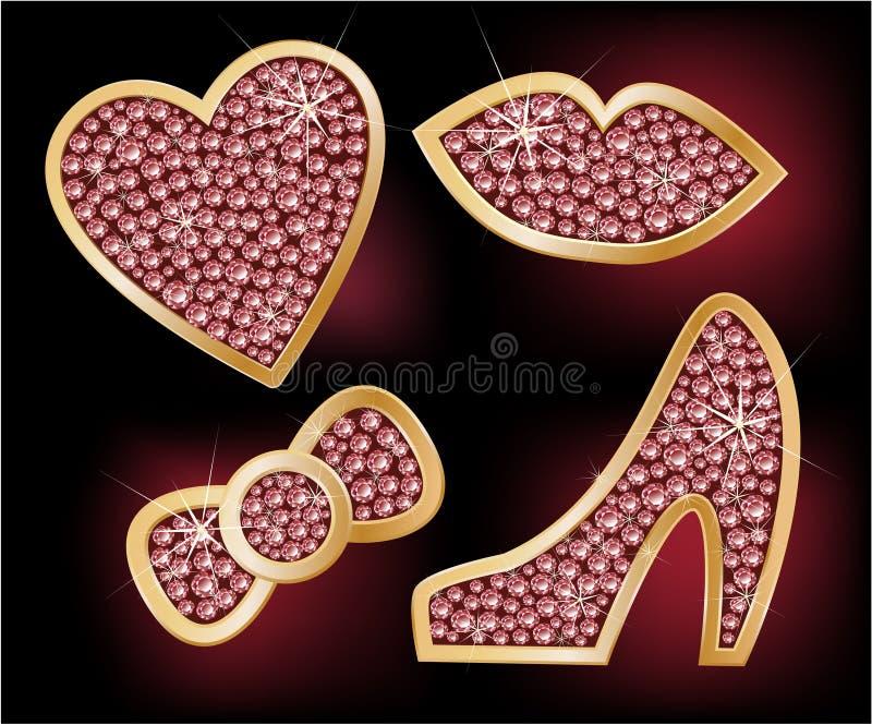Ícones um coração, bordos, uma curva, as sapatas ilustração stock