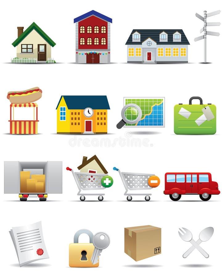 Ícones universais ajustados -- Ícone dos bens imobiliários ilustração royalty free