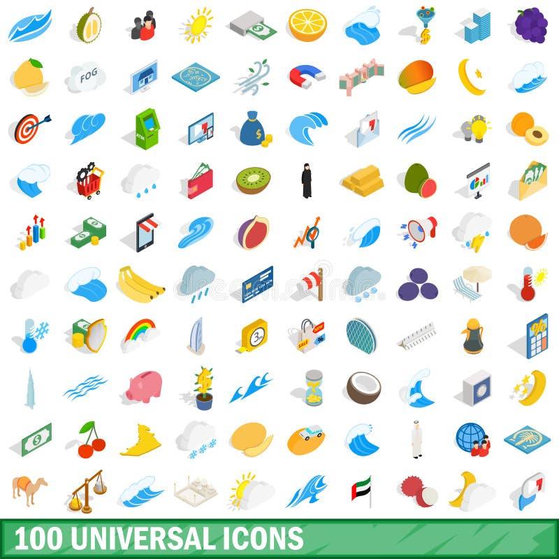 100 ícones universais ajustados, estilo 3d isométrico ilustração royalty free