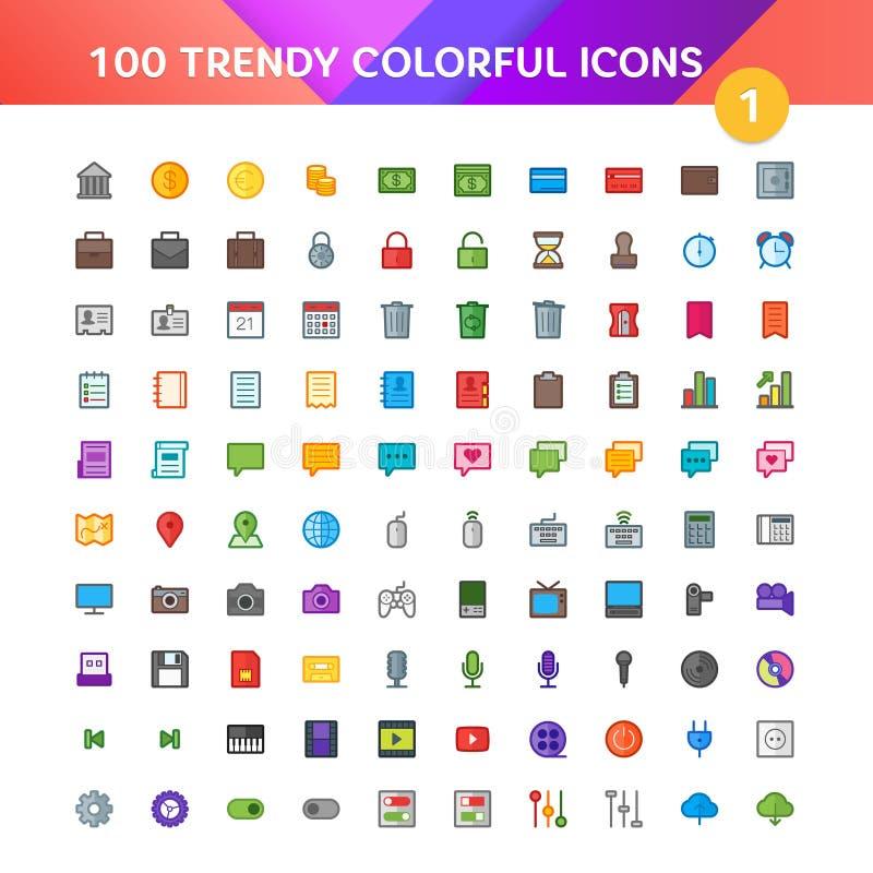 100 ícones universais ajustaram 1 ilustração royalty free