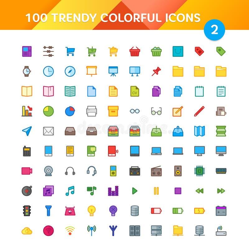 100 ícones universais ajustaram 2 ilustração do vetor