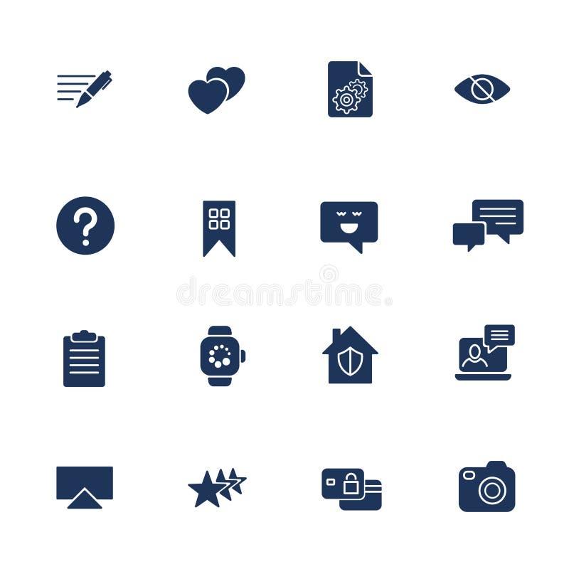 Ícones universais da Web a usar-se na Web e em UI móvel, grupo de nota básica dos elementos da Web de UI, comentário, câmera, rel ilustração royalty free