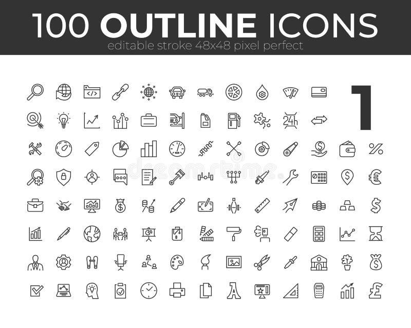 100 ícones universais do esboço para a Web e o móbil Curso editável pixel 48x48 perfeito ilustração do vetor