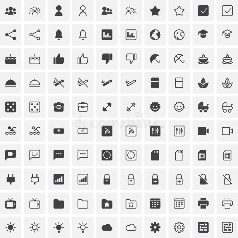 100 ícones universais para a Web e o móbil ilustração royalty free