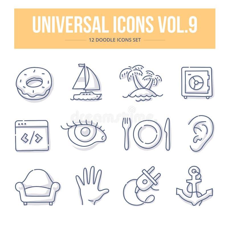 Ícones universais vol da garatuja 9 ilustração royalty free