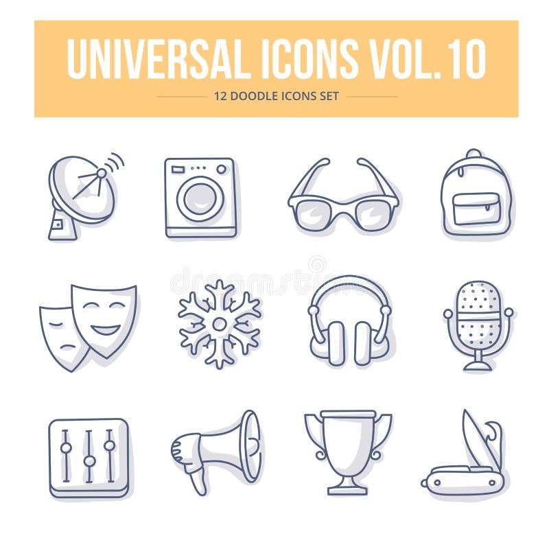 Ícones universais vol da garatuja 10 ilustração royalty free