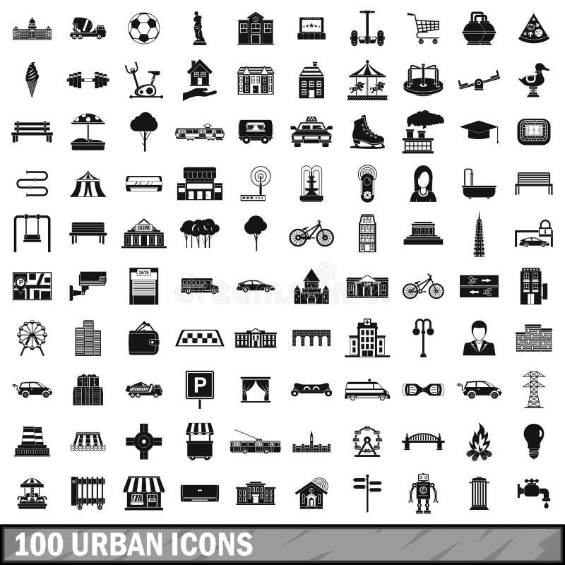 100 ícones urbanos ajustados, estilo simples ilustração royalty free