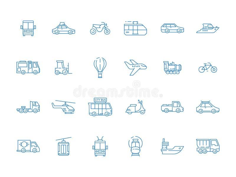 Ícones urbanos do veículo Linha fina grupo do vetor do caminhão dos barcos dos carros do barco dos aviões de transporte da cidade ilustração stock