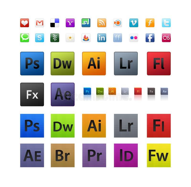 Ícones vários e de Adobe ajustados ilustração do vetor