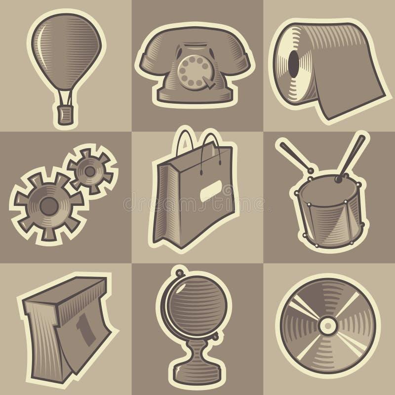 Ícones variados monocromáticos ilustração do vetor