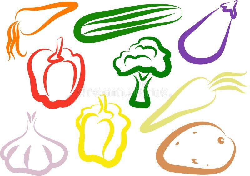 Ícones vegetais ilustração stock