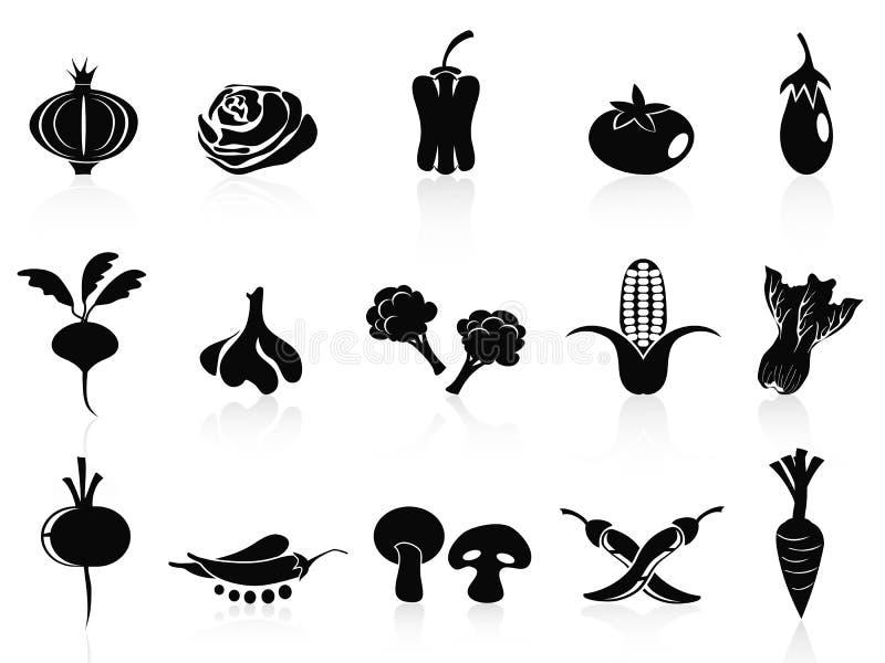 Ícones vegetais pretos ajustados ilustração royalty free