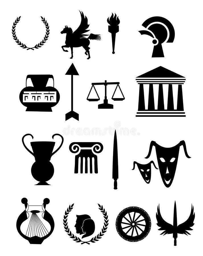 Ícones velhos de Grécia ajustados ilustração do vetor