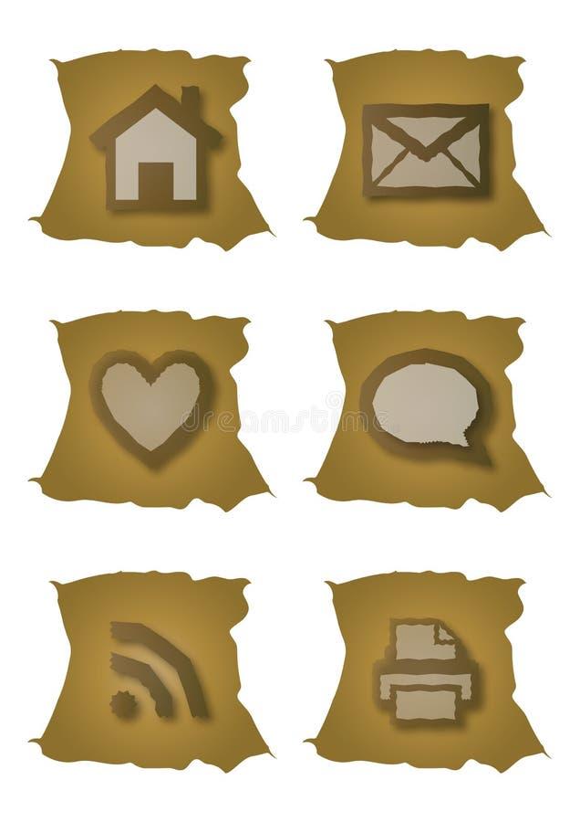 Ícones velhos do Web ilustração do vetor