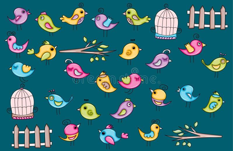 Ícones verão dos pássaros ou projeto da etiqueta da garatuja dos desenhos animados do conceito da mola ilustração royalty free