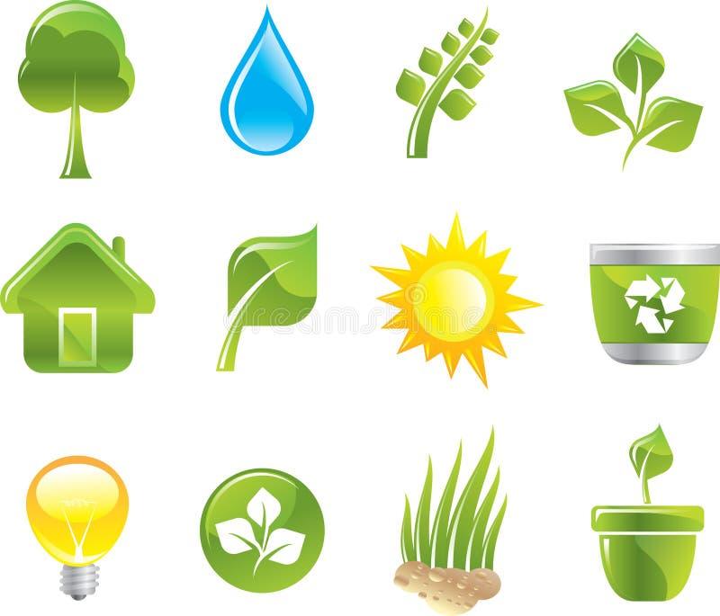 Download Ícones verdes ajustados ilustração do vetor. Ilustração de moderno - 12801708