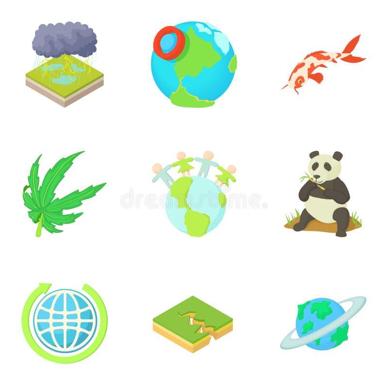 Ícones verdes ajustados, estilo do planeta dos desenhos animados ilustração stock