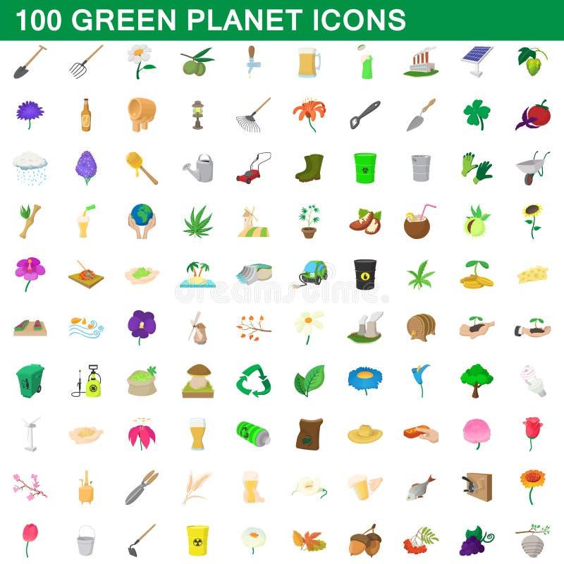 100 ícones verdes ajustados, estilo do planeta dos desenhos animados ilustração do vetor