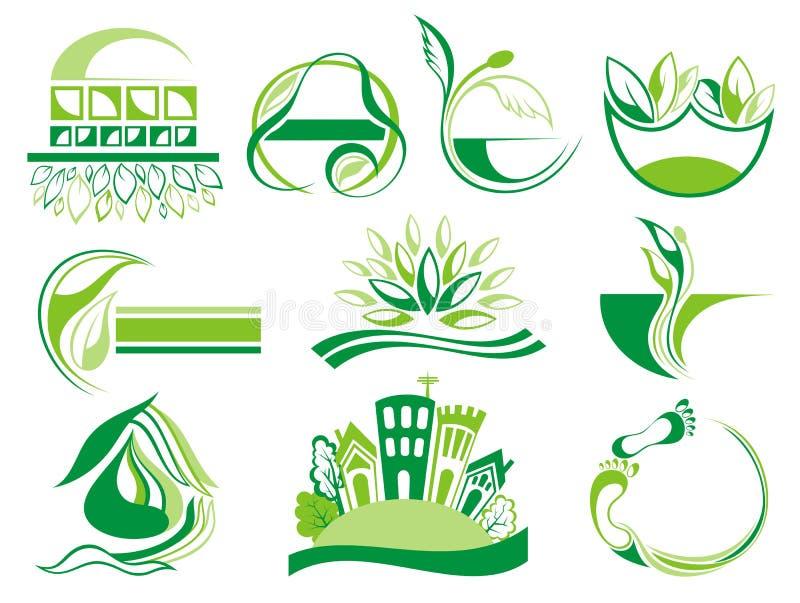 Ícones verdes de Eco ilustração royalty free