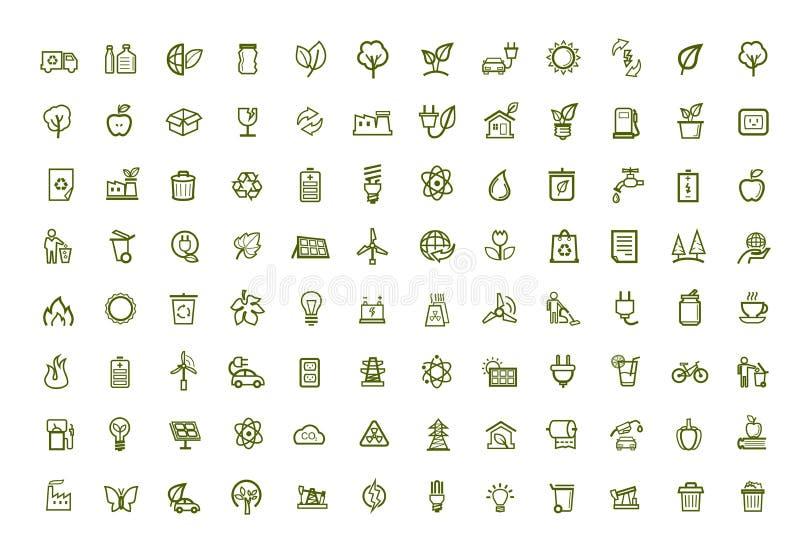 Ícones verdes do eco do vetor ajustados ilustração stock