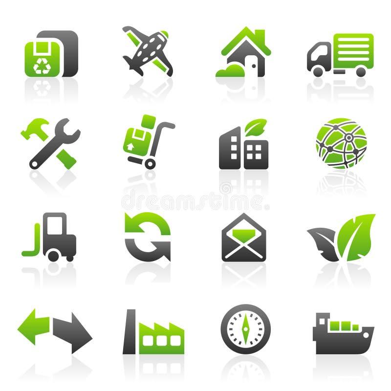 Ícones verdes do transporte ilustração stock