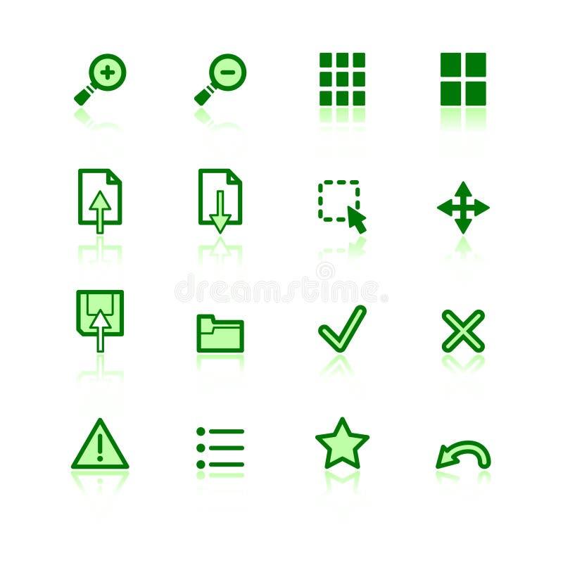 Ícones verdes do visor ilustração do vetor