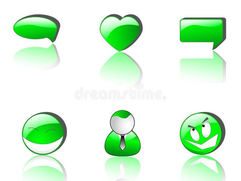 Ícones verdes do Web   ilustração do vetor