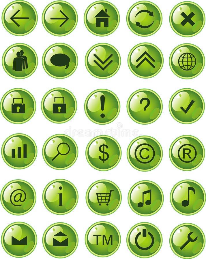 Ícones verdes do Web de Lite, teclas ilustração stock