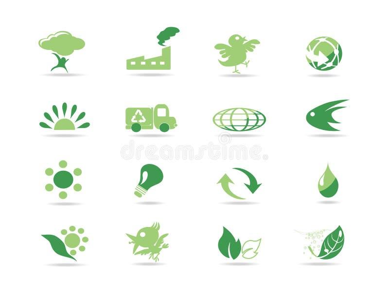Ícones verdes simples do eco ilustração do vetor
