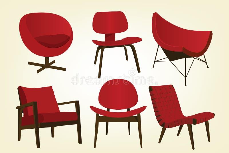 Ícones vermelhos da cadeira do vintage ilustração stock