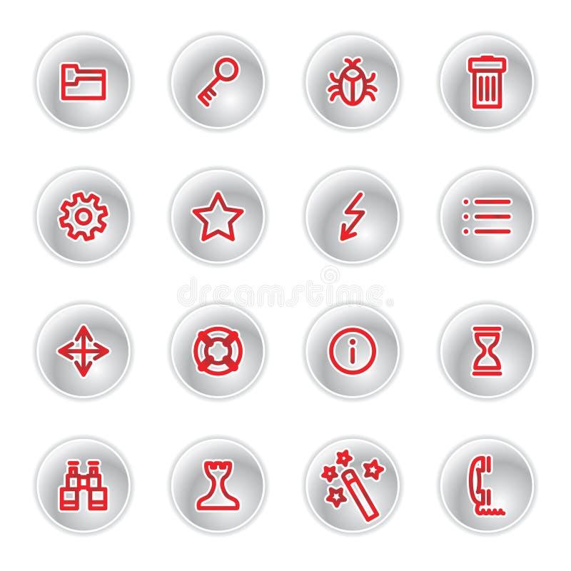 Ícones vermelhos do admin ilustração stock