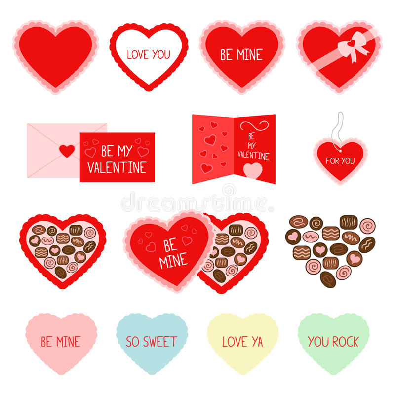 Ícones vermelhos do cumprimento e dos doces do dia de Valentim fotografia de stock