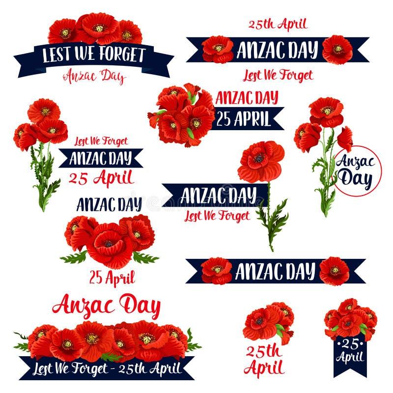 Ícones vermelhos do vetor da papoila de Anzac Day Lest We Forget ilustração stock