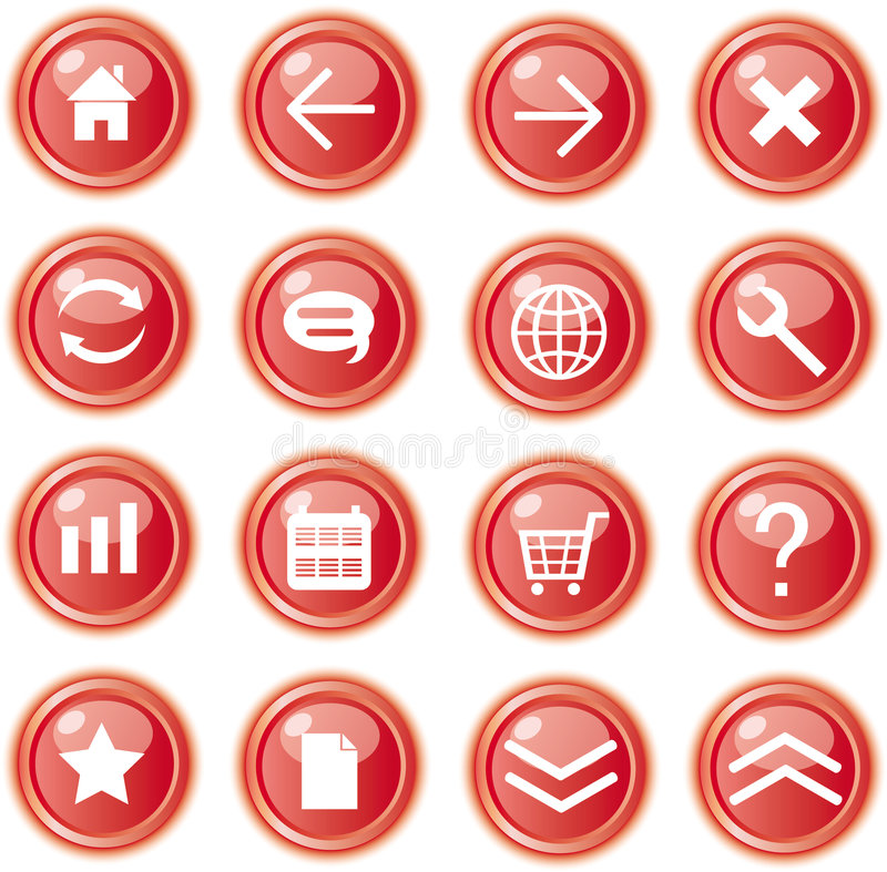 Ícones vermelhos do Web, teclas ilustração stock